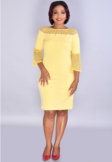REVERIE- Crepe Dress With Crochet Neckline And 3/4 Sleeves