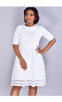 RILLANI-Double Mesh Hem Dress with Short Sleeves