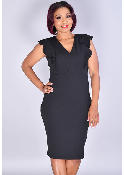 RENITA-Solid V-Neck Dress with Ruffles