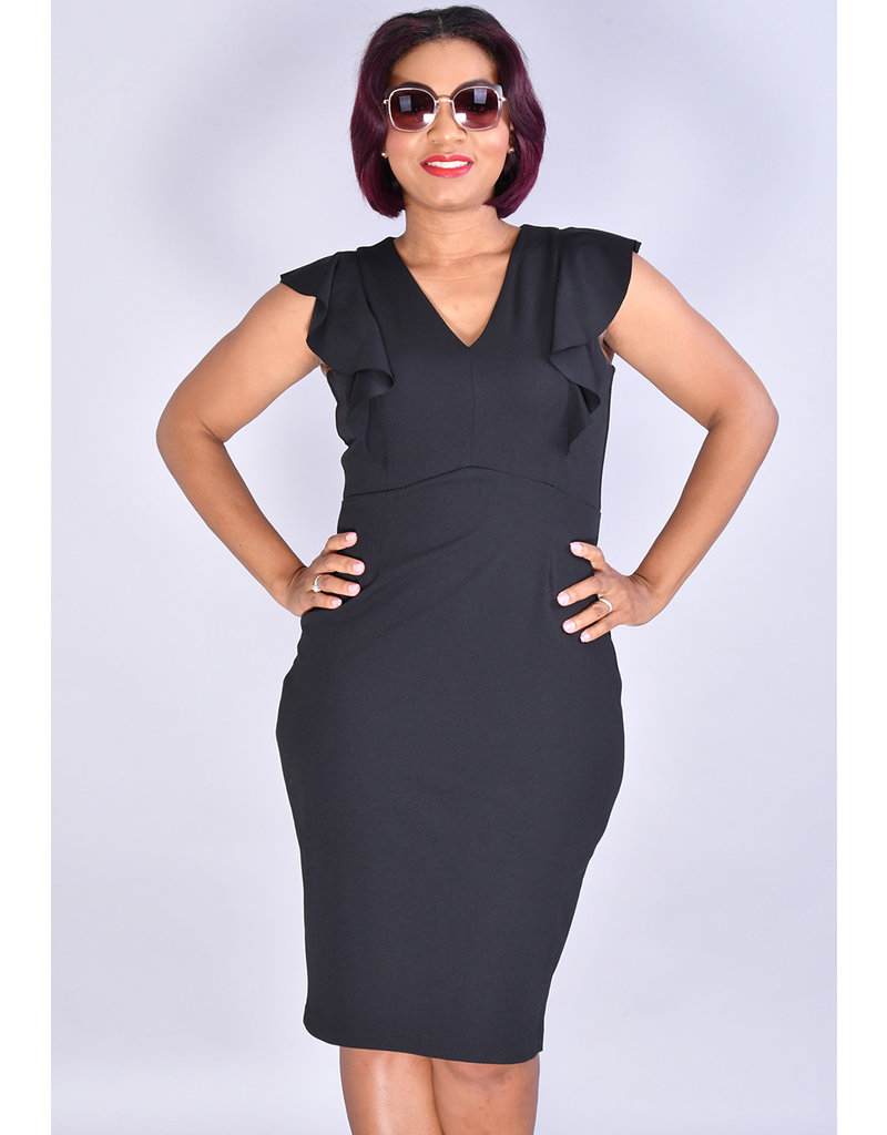 RENITA-Solid V-Neck Dress with Ruffles