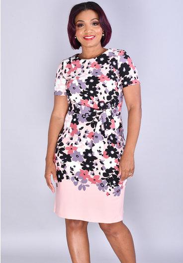 ROANNE-Floral Short Sleeve Dress