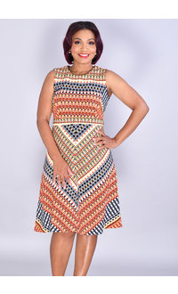 REIDEL- Striped Sleeveless Fit And Flare Dress