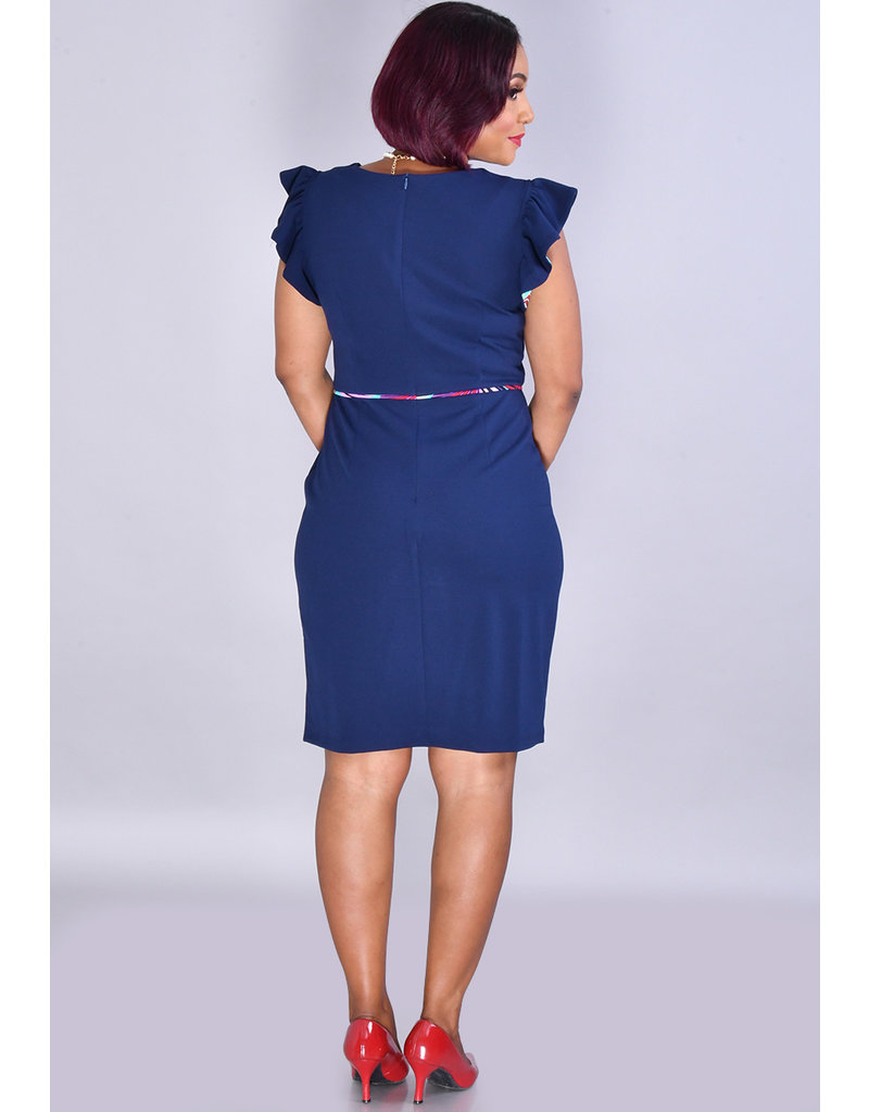 RHYAN-Solid Dress with Print Inside Ruffle Sleeve