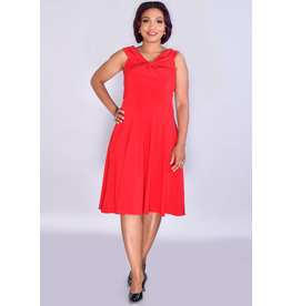IDEANDRIA- Solid Fit & Flare Dress with Knot at Neck