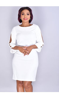 ROKSANA-Cold Shoulder Dress With Pearls