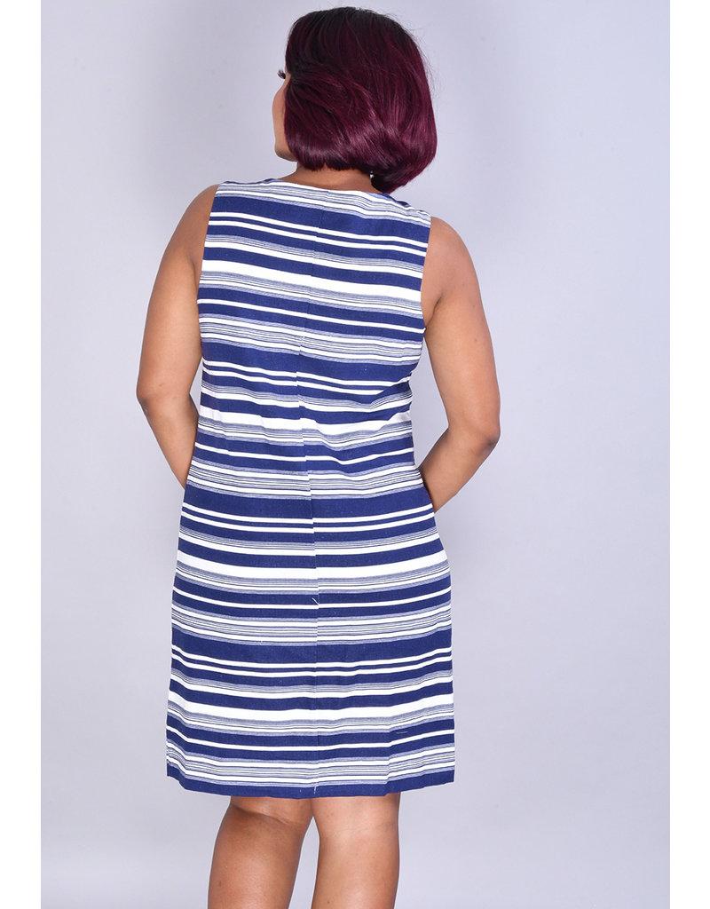 NESHA-Horizontal Striped Dress with Drawstring at Neck