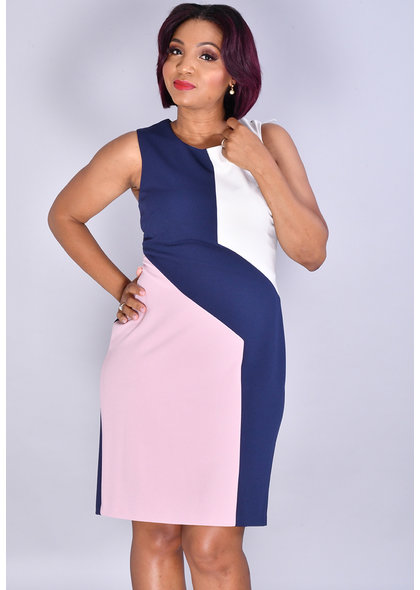 RAZI- Color Block Midi Dress