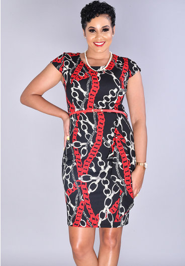 Pyramide XANDRIA - Printed Cap Sleeve Dress With Belt