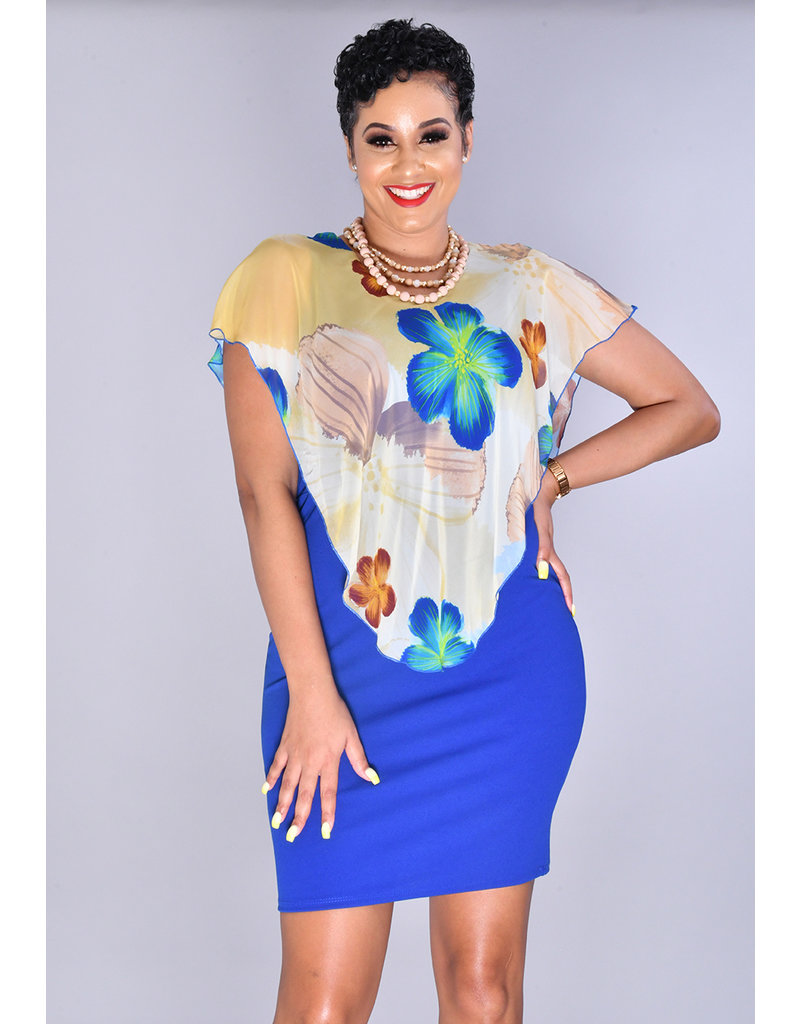 REXENIA- Printed Pop Over Dress