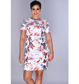 UDANNI - Floral Foil Print Short Sleeve Dress