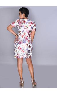 UDANNI - Floral Foil Print Short Sleeve Dress