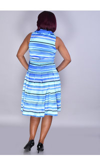 Shelby Nites SAMIRA- Striped Crossover Dress with Collar & Box Pleats