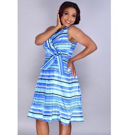 Shelby Nites SAMIRA- Striped Crossover Dress with Collar & Box Pleats