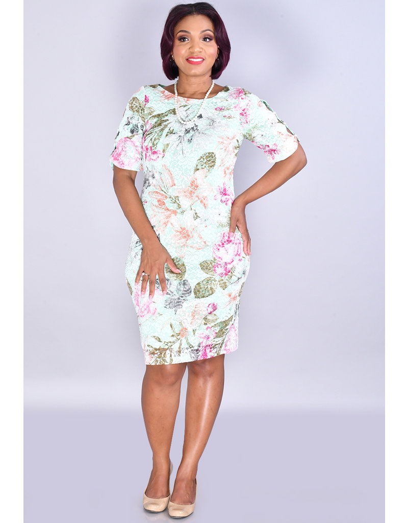 Shelby & Palmer LOSKSANA- Floral Lace Dress with Pearls in Sleeves