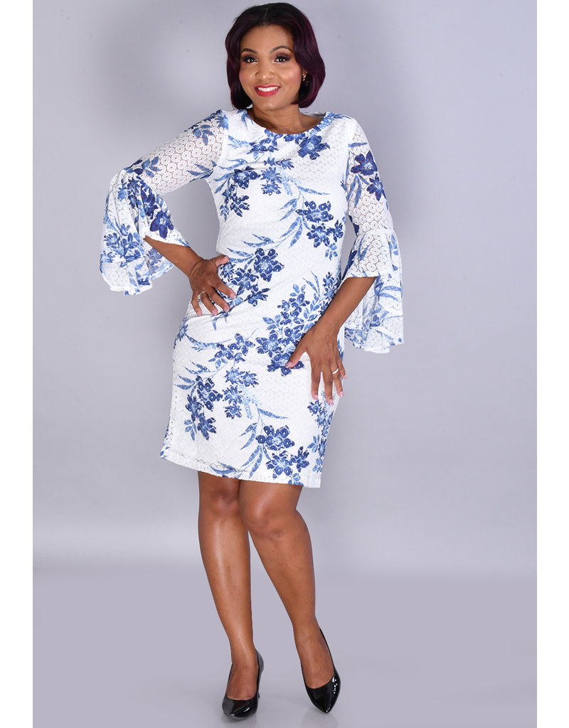 Shelby & Palmer LUISA- Floral Lace 3/4 Drama Sleeve Dress