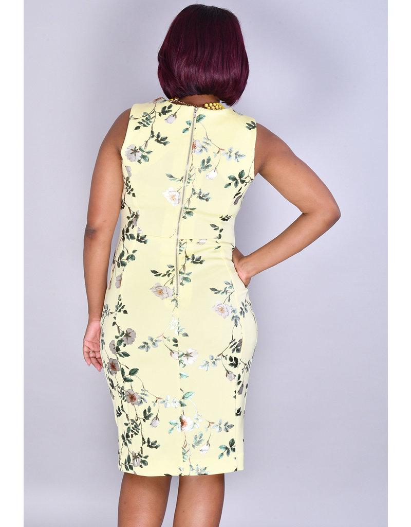 Shelby & Palmer UDIANE- Foil Floral Dress with Broad Straps