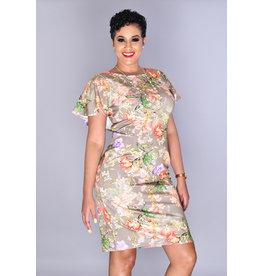 JM Studio RAJNI- Floral Print Dress with Bell Cap Sleeves