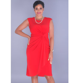 IDITA- Round Neck Faux Wrap Dress with Knot