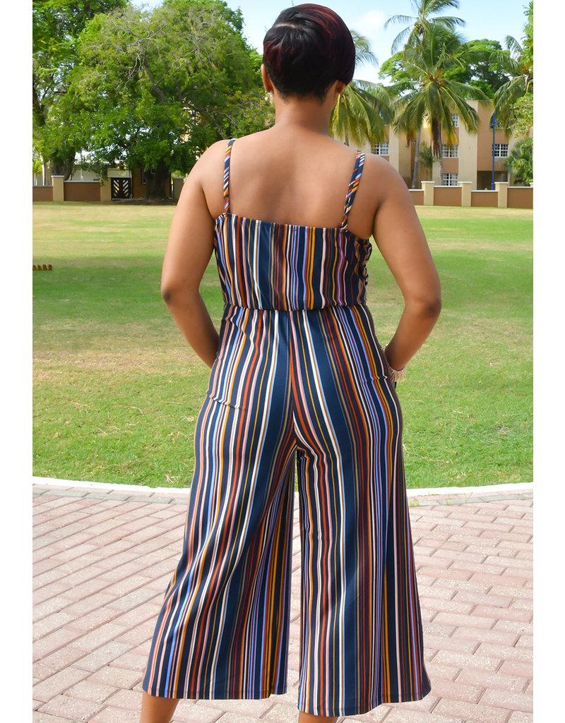 JOSS- Stripe Jumpsuit with Twist at waist