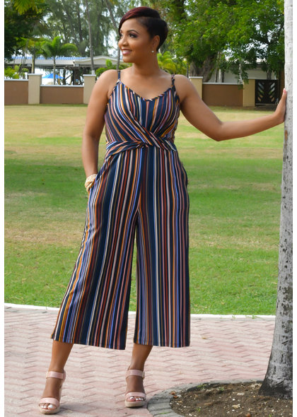 JOSS- Stripe Jumpsuit with Twist at waist