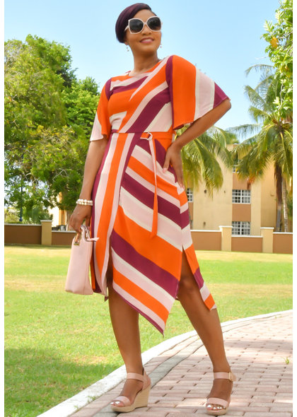 ROWYN- Striped Dress with Short Split & Cap Sleeves