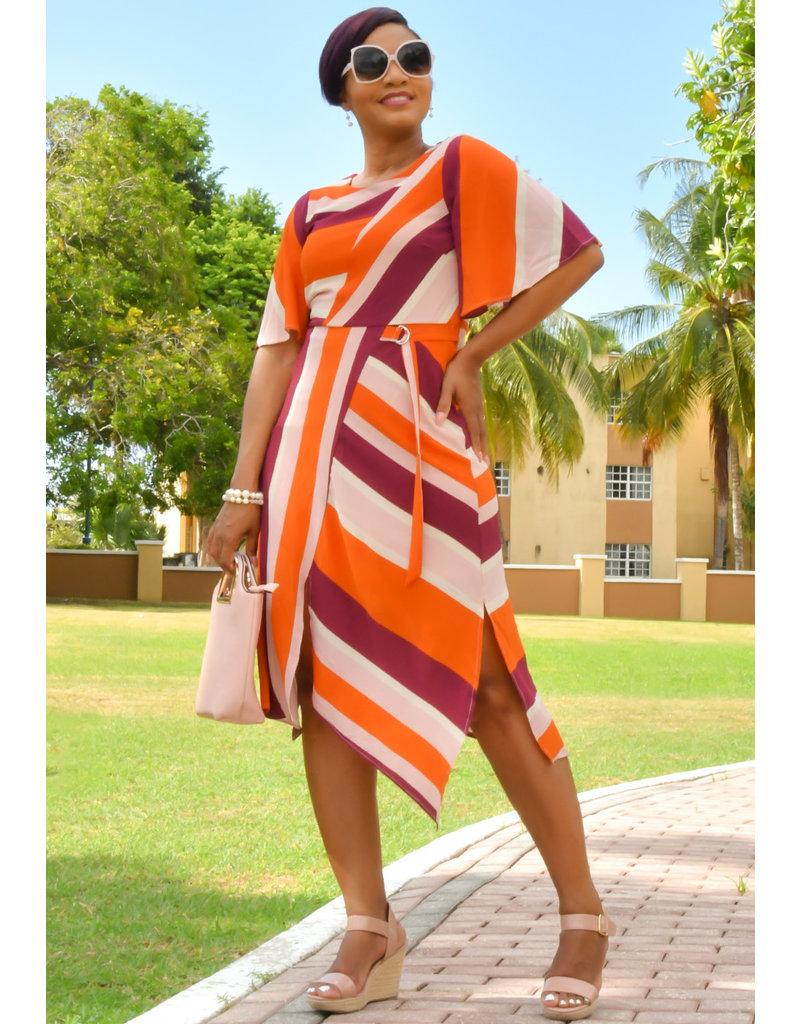 ROWYN- Striped Dress with Short Split & Cap Sleeves