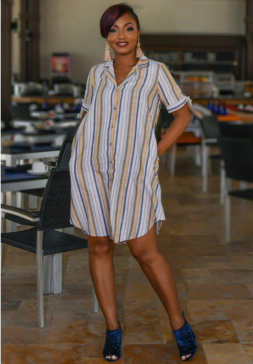 MLLE Gabrielle KORI- Striped Collared Shirt-Dress