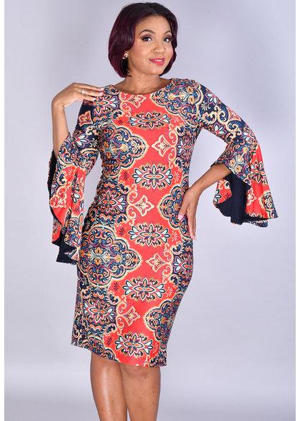 Shelby & Palmer IDEVORA- Printed Round Neck 3/4 Drama Sleeve Dress