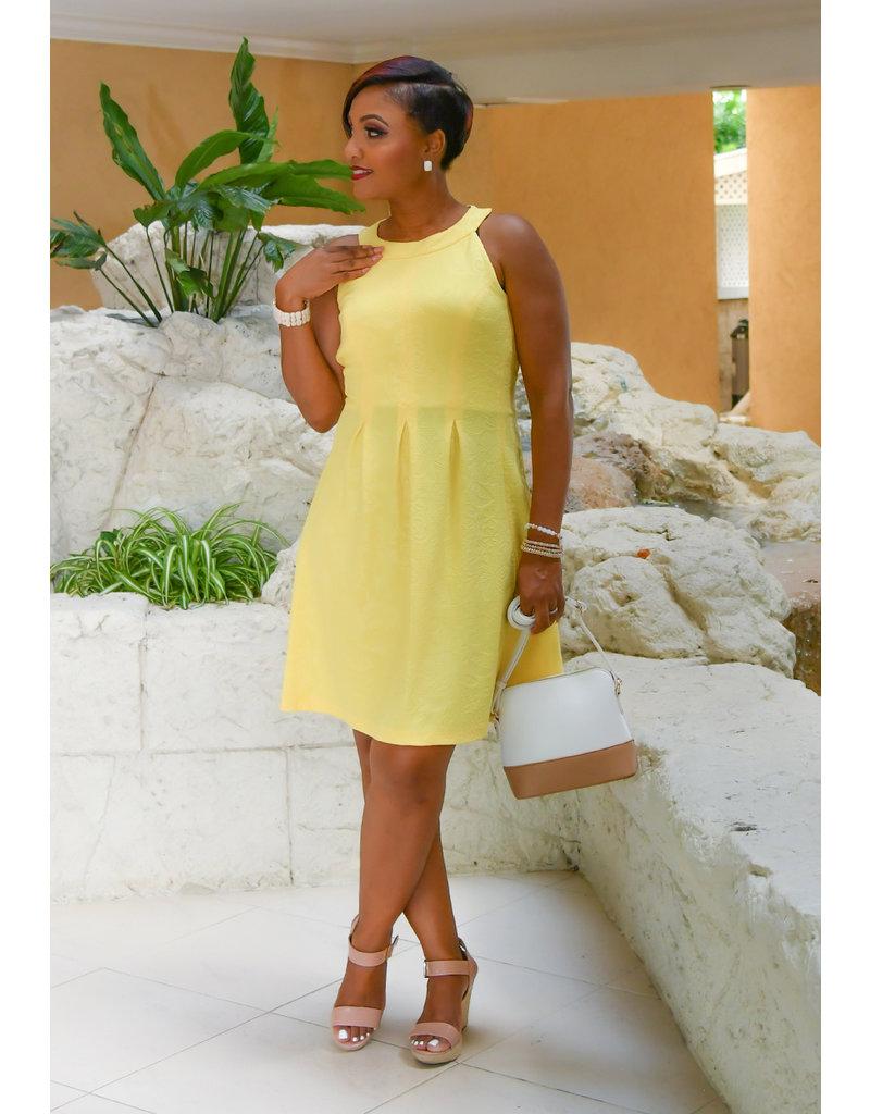 Pappagallo EARTHA- Floral Hi-Neck Box Pleat Fit & Flare Dress