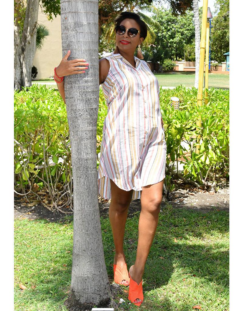MLLE Gabrielle KIONA- Sleeveless Collared Shirt Dress