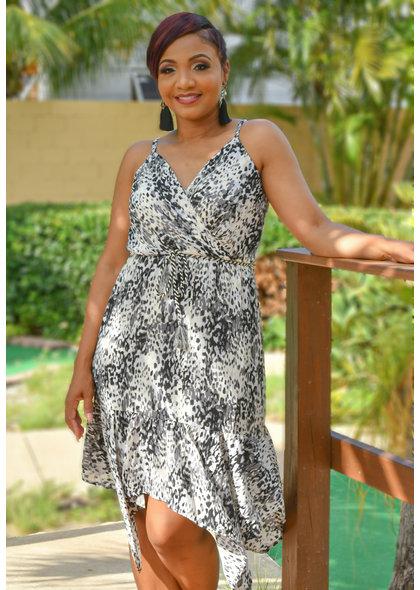 FINLA- Animal Print Kerchief Bottom Dress