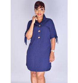 KHADIJA-Three Button Shirt Dress with Tie