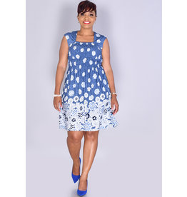 KARLA- Puff Print Floral Dress with Elastic Top