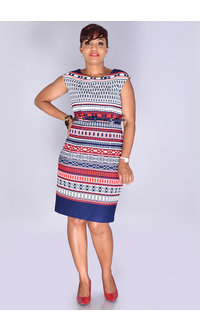 RODERIGA- Printed Armhole Dress with Belt