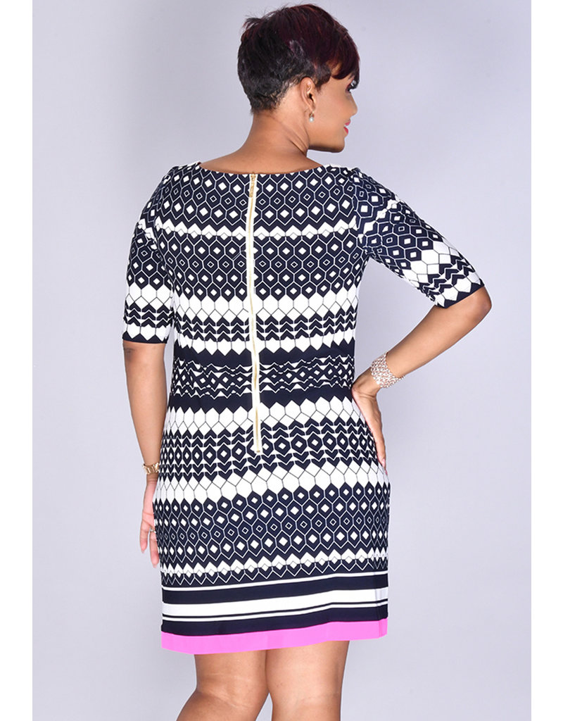 Eliza J IDIVIA- Pattern Midi Sleeve Dress