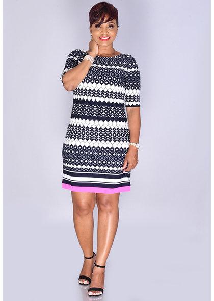 Eliza J IDIVIA- Pattern Midi Sleeve Dress