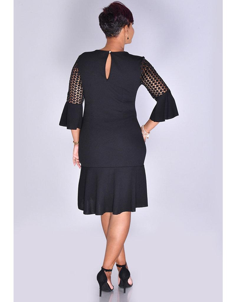 MLLE Gabrielle RAKTI- 3/4 Crochet Bell Sleeve Dress with Ruffle Hem