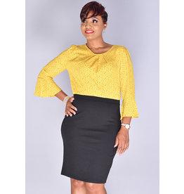 Kara Girl RAFIA- Bell Sleeve Chiffon Top Sheath Dress