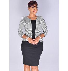 Kara Girl RADWA- Geo Print Jacket Look Dress with 3/4 Sleeves