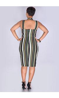 Bebe PREEDA-  Striped Choker Neckline Sheath Dress