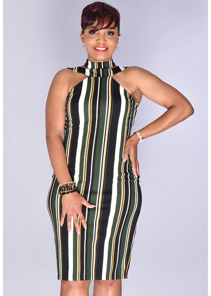 Bebe PREEDA-  Striped Choker Neckline Sheath Dress