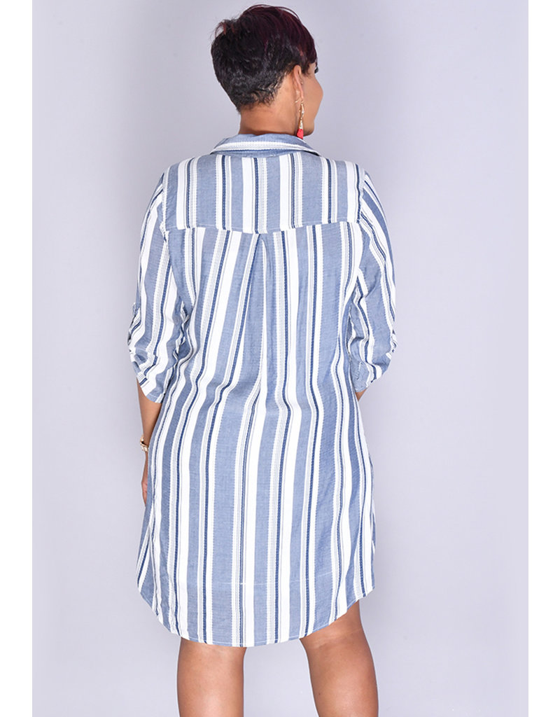 KYRIE- Striped Shirt Dress
