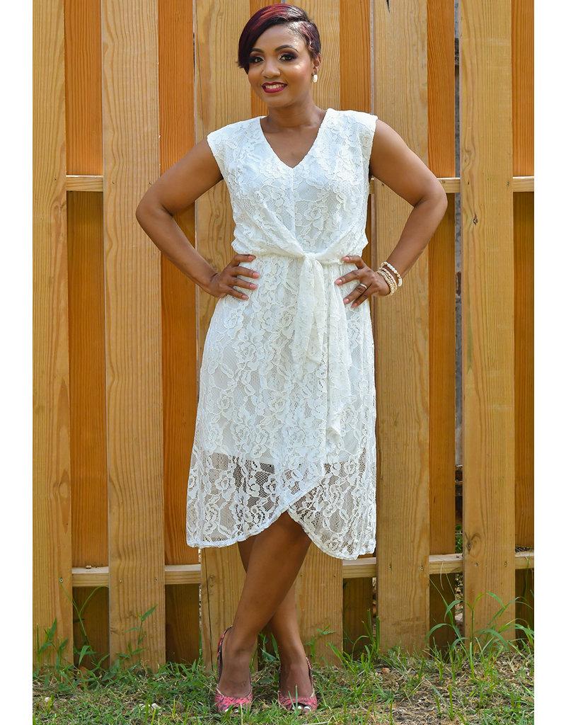LOURDES- Mesh V-Neck Cap Sleeve Dress