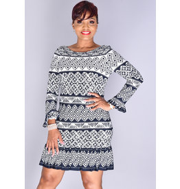 Eliza J IPETA- Long Sleeve Patterned Dress with Ruffle Hem