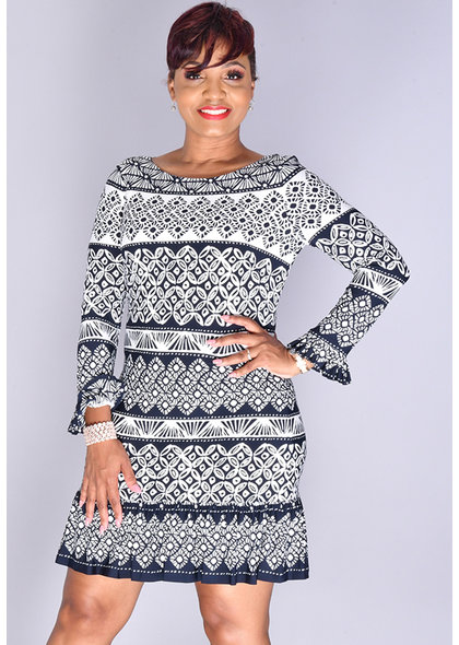 Eliza J IPETA- Long Sleeve Patterned Dress with Ruffle Hem