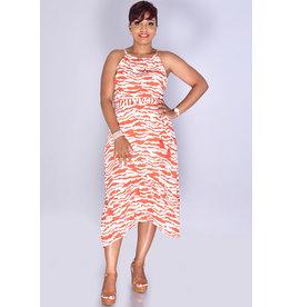 GELIA- Zebra Print Ruffled Bottom Dress