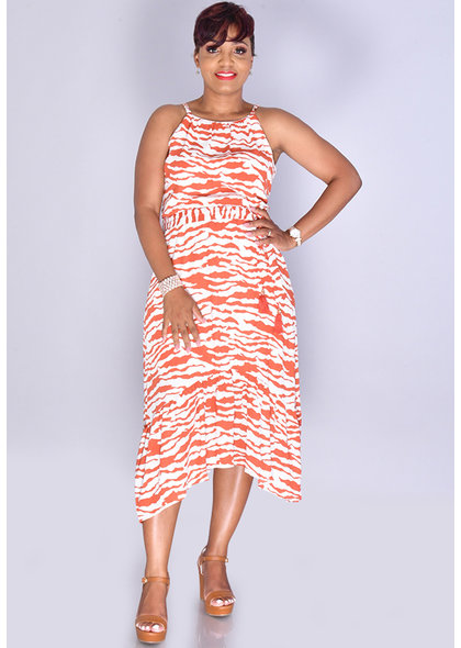 GELIA- Zebra Print Ruffled Bottom Dress