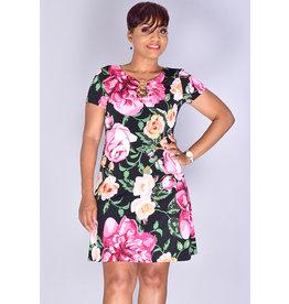 MSK IDIVA- Floral Print 3 Ring Short Sleeve Dress