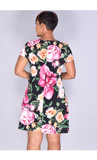 MSK IDIVA- Floral Print 3 Ring Short Sleeve Dress