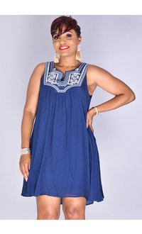 KENNEDY- U-Neck Cotton Dress With Embroidery & Sequins